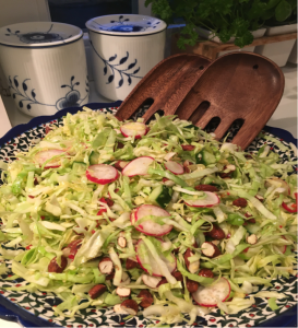 Pointed Cabbage with Ginger, Chili and Soy Roasted Almonds