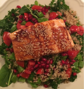 Teriyaki and Soy Sauce Marinated Salmon with Kale and Quinoa Salad