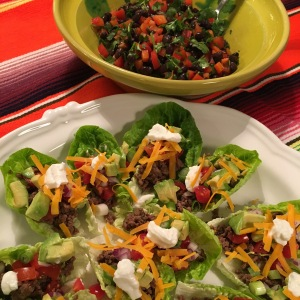 Taco with Little Gem Lettuce Shells and Black Bean Salad