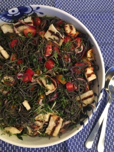 Black Bean Spaghetti with Grilled Halloumi and Cress