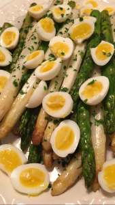 Grilled Asparagus with Quail Eggs and Parsley