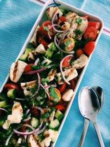 Tomatoes and Halloumi Cheese salad