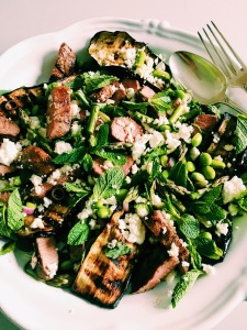 Grilled Lamb and Aubergine with Mint, Asparugus and Goat Feta.