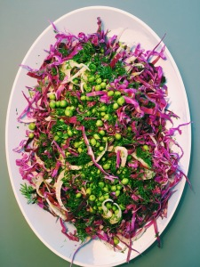 Red Pointed Cabbage with Fennel, Green Peas and Dill
