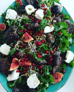 Chicken Liver Kale Salad with Fresh soft Goat Cheese and Figs