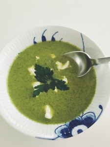 Kale, Spinach and Broccoli Soup with Tahini and Parsley