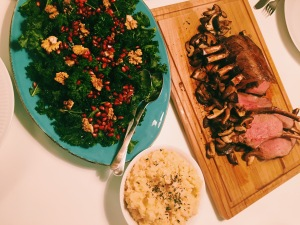 Wild Boar with Celeriac Mash, Sautéed Shiitake Mushrooms and Kale Salad.