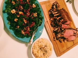Wild Boar with Celeriac Mash, Sautéed Shiitake Mushrooms and Kale Salad.