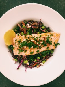 Salmon with Red Cabbage, Edamame and Quinoa Salad