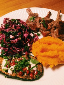 Lamb Chops with Sweet Potatoes Mash, Cabbage Salad and Aubergine with Tahini