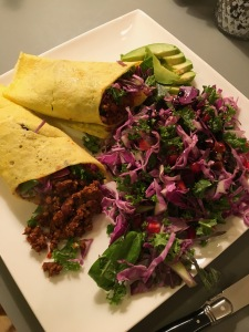 Egg Wrap with Chipolte Beef and Cabbage Salad