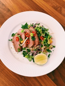 Duck Breast with Rice Noodles, Mango, Chili and Edamame Beans