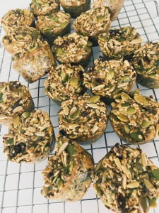 "Organic Paleo Muffin ""Bites"" with Goji Berries and Hemp Seeds"